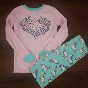 Unicorn pajama (pj) set girls size 8 snug fit
